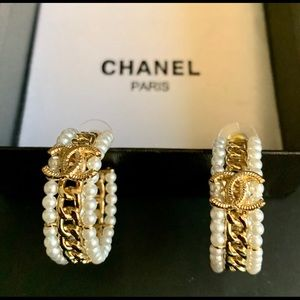 Chanel Pearl Hoop Earrings